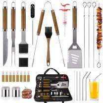 SixSun 30PCS BBQ Grill Tools Set Wooden Handle Stainless Steel Grilling Accessories with Spatula, Tongs, Skewers for Barbecue, Camping, Kitchen, Complete Premium Grill Utensils Set - Brown