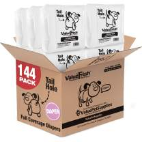 ValueFresh Disposable Diapers for Female Dogs, X-Small, 144 Count - Full Coverage w/Tail Hole, Incontinence, Excitable Urination, Travel, Snag-Free Fasteners, Leak Protection, Wetness Indicator