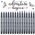 Hand Lettering Pens, 15 Pack Calligraphy Brush Pen Markers Black Ink for Beginners Writing, Lettering, Journaling, Art Drawing, Signature, Illustrations and Office School Supplies by Tebik