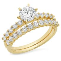 Clara Pucci 3.0 CT Round Cut CZ Pave Halo Classic Designer Solitaire Ring Band Set 14k Yellow Gold