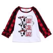 Christmas Kids Toddler Baby Girls Ruffle Sleeve Blouse Plaid Cow/Tree Print T-Shirt Xmas Outfits