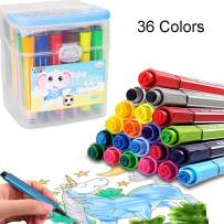 Lemical Watercolor Pen Kit 36 Colors Stamp Markers Portable Paint Pens Coloring Markers Cute Pen Multi Colors Drawing Graffiti Painting Pen Art Set with Storage Case for Children