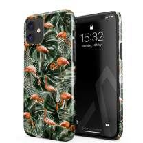 BURGA Phone Case Compatible with iPhone 11 - Flamingo Green Palm Trees Leaf Tropical Leaves Exotic Bird Summer Cute Case for Women Thin Design Durable Hard Plastic Protective Case