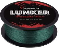 Piscifun Lunker Braided Fishing Line - Multifilament 300yards 547yards Improved Braided Line, Abrasion Resistance Fishing Line, Zero Stretch, Thinner Diameter 6lb-80lb PE Fishing Line