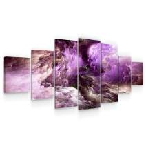 Startonight Huge Canvas Wall Art - Inspirational Purple Abstract Large Framed Set of 7 40 x 95 Inches
