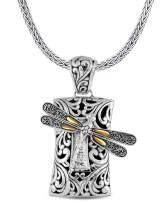 DEVATA Sweet Dragonfly Hammered Sterling Silver 925 Necklace with 18K Gold Accents SFD8563TT