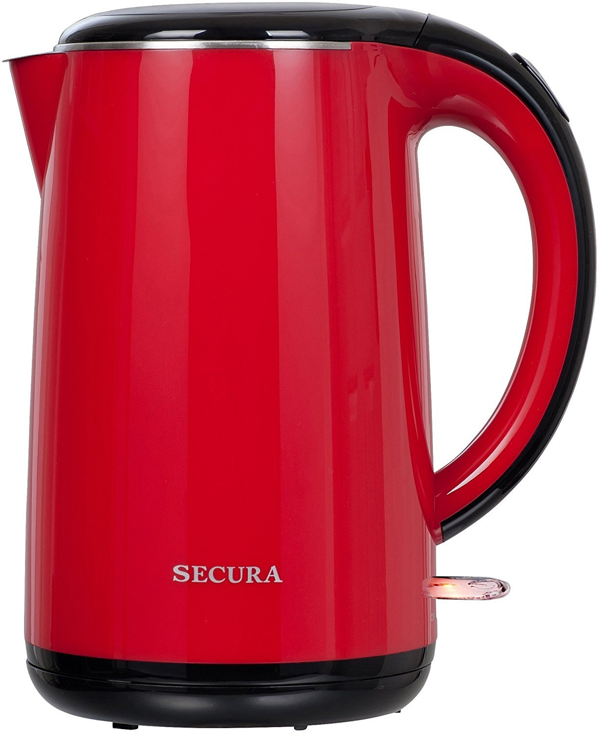 Secura SWK-1701DB The Original Stainless Steel Double Wall Electric Water Kettle 1.8 Quart, Red