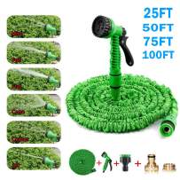 Slopehill Expandable Garden Hose Pipe, 25/50/75/100 FT Garden Hose with 7 Function Spray Nozzle, Self-Locking with 1/2 & 3/4 Connectors, 3 Times Expanding for Garden, Car, and Pet Washing