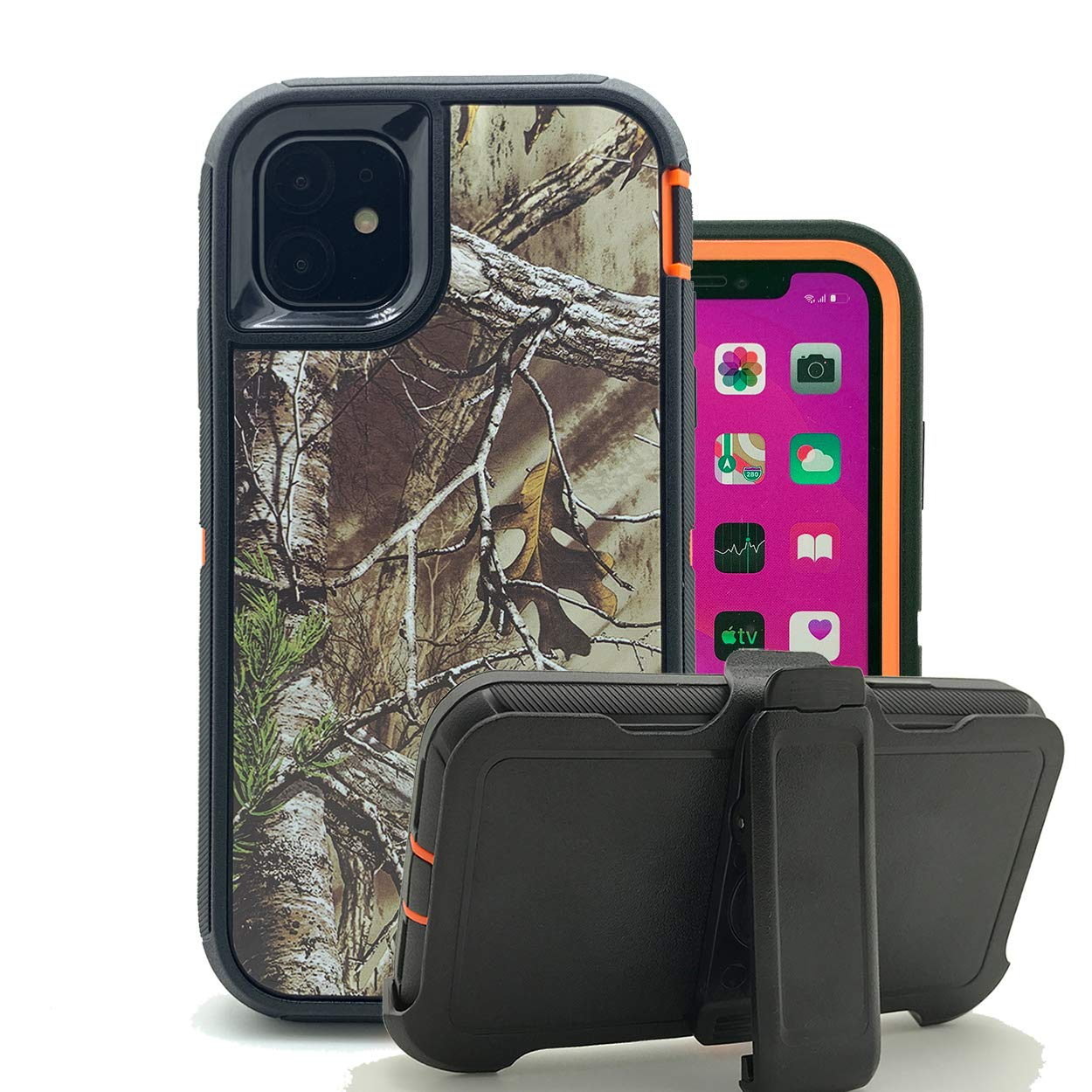 iPhone 11 Cover, Harsel Heavy Duty Scratch Resistant Defender Camouflage Hybrid Armor Military Grade Protection Shockproof Durable Case Shell with Belt Clip for iPhone 11 (Xtra Orange)