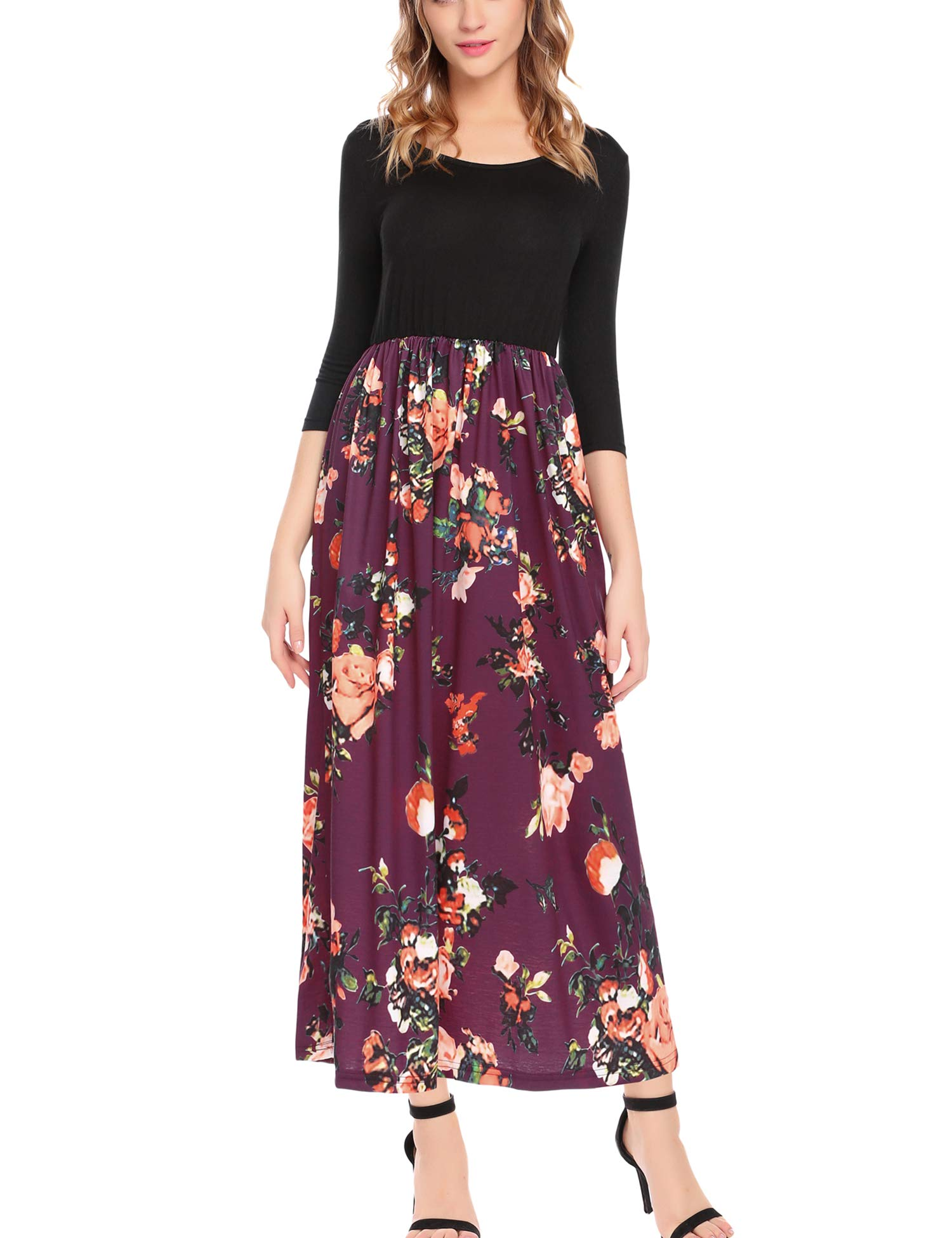 ELESOL Women Floral Print 3/4 Sleeve Solid Casual Swing Pleated Long Maxi Dress Floral Purple S