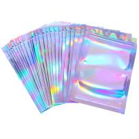 100 Pieces Resealable Smell Proof Bags Foil Pouch Bag Flat Ziplock Bag for Party Favor Food Storage (Holographic Color, 5.5 x 7.8 Inches)