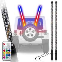 LED Whip Lights Antenna RGB Color Whips W/Flag fits ATV UTV RZR Off Road Sand Dune Buggy Wrangler 4X4 Quad Boat Marine (5 Feet Chase Dual)