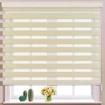 Keego Window Blinds Custom Cut to Size, Caffeine Zebra Blinds with Dual Layer Roller Shades, [Size W 24 x H 48] Dual Layer Sheer or Privacy Light Control for Day and Night