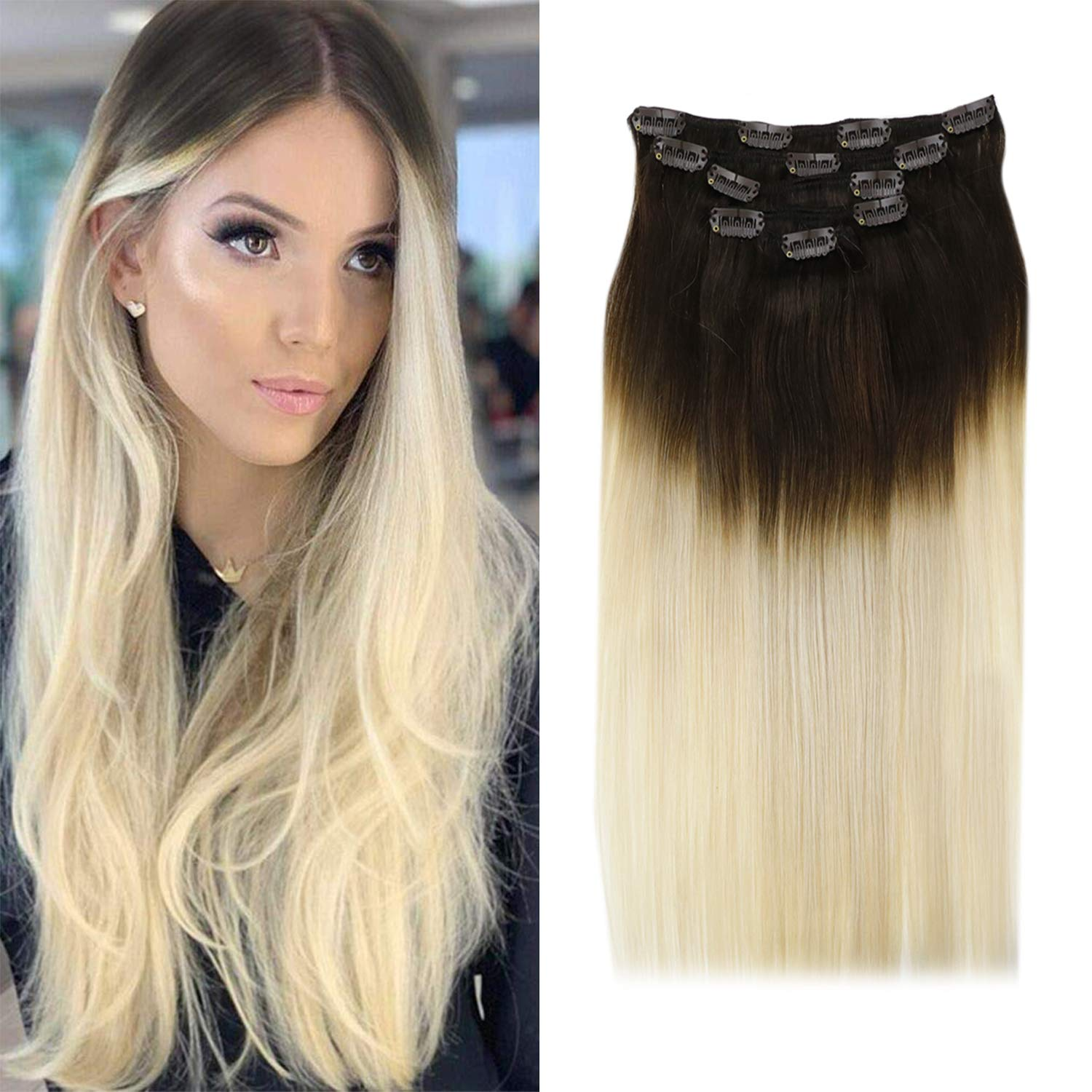 [20% OFF]LaaVoo Real Human Hair Clip in Extensions Silky Straight Hair Extensions Ombre Dark Brown Fading to Platinum Blonde Double Weft 5 Pieces Clip on Human Hair for Women 14inch 70g/pack(#4/60)