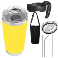 BIQIB Travel Mug Gift set 20 oz Tumbler 18/8 Stainless Steel Double Wall Vacuum Insulated Water Bottle Coffee Cup Camping Thermoses w/MagSlider Lid, Straw,Clean Brush,Cup bag (Yellow)