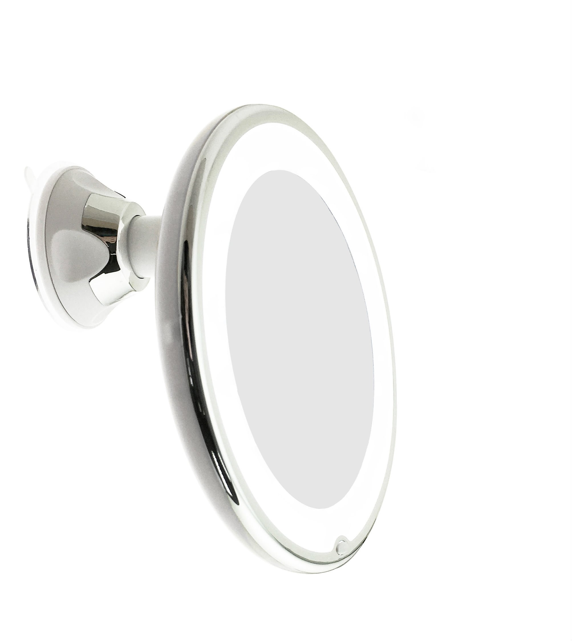JiBen LED Lighted 7X Magnifying Makeup Mirror with Power Locking Suction Cup, Bright Diffused Light and 360 Degree Rotating Adjustable Arm, Portable Cordless Home and Travel Bathroom Vanity Mirror