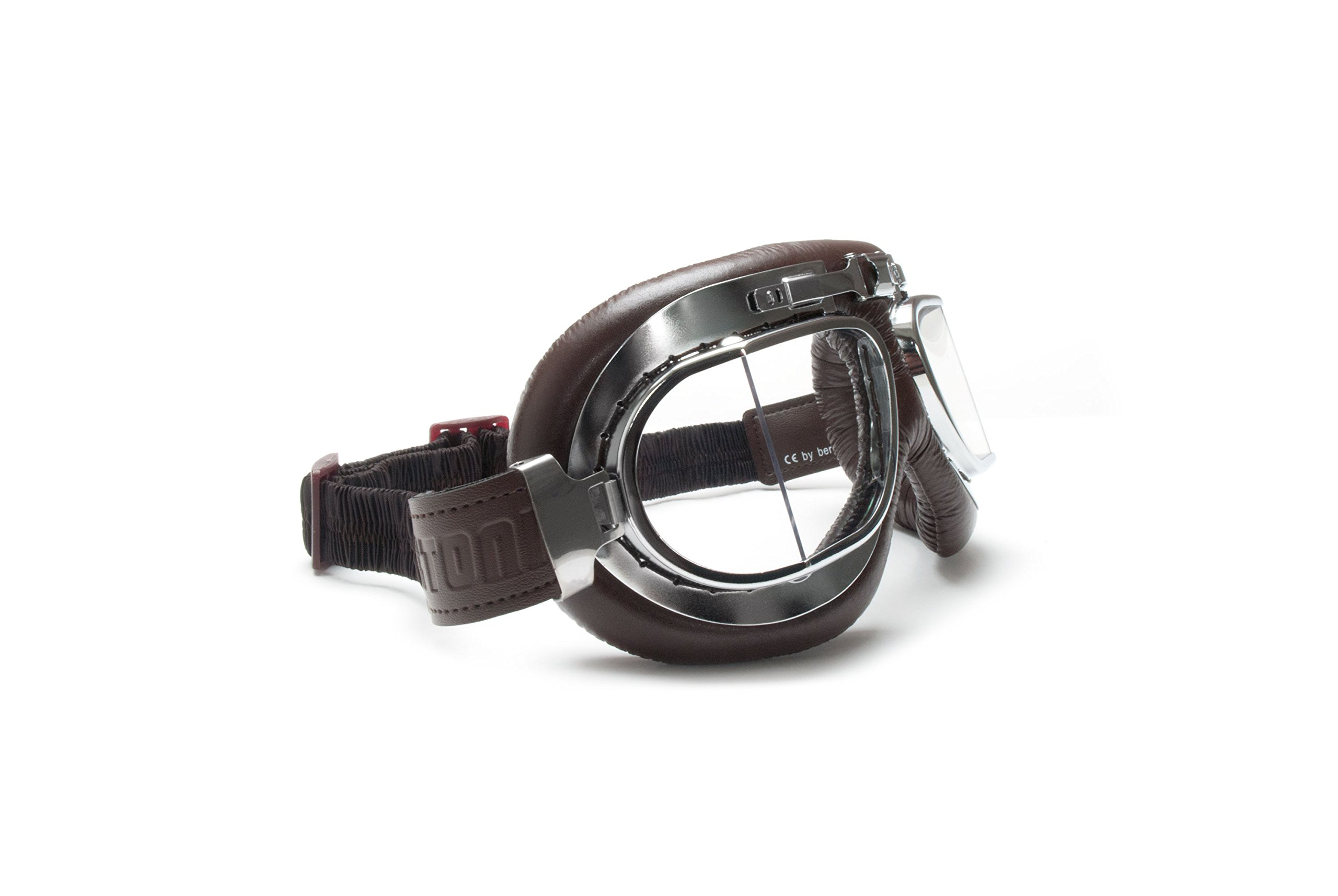 Vintage Motorcycle Goggles with Antifog and Anticrash Squared Lenses - Chromed Steel Frame - by Bertoni Italy - AF193CRB Brown - Motorbike Aviator Helmets Goggles