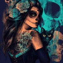 Maysurban 5D DIY Painting by Numbers Embroidery Painting Full Drill Diamond Painting Skulls Kits Adults for Home Wall Decoration (Girl and Cat Looking Back 12x16inch)