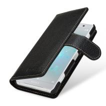 StilGut Case Suited for Xperia XZ2 Compact. Real Leather Wallet Cover [Card Slots & Closure], Black
