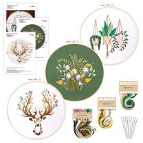 3 Sets Embroidery Starter Kit with Printed Pattern Cotton Fabric and Instructions, Cross Stitch DIY Flower/Floral/Plants/Animals Art Kit with Hoop, Needles, Cloth, Threads for Beginners