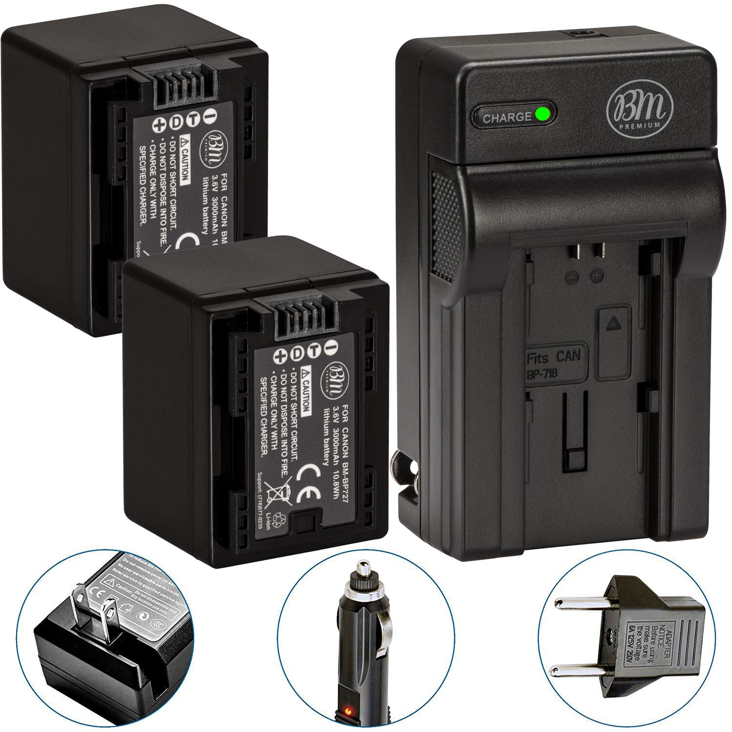 BM Premium Fully Decoded 2-Pack of BP-727 Batteries and Battery Charger for Canon Vixia HF R70, HF R72, HF R700 HFM50, HFM52, HFM500, HFR30, HFR32, HFR300, HFR40, HFR42, HFR400, HFR50, HFR52, HFR500, HFR60, HFR62, HFR600 Camcorder