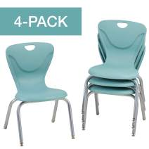 "Factory Direct Partners10375-SF FDP 16"" Contour School Stacking Student Chair, Ergonomic Molded Seat Shell with Chromed Steel Frame and Swivel Leg Glides - Seafoam (4-Pack)"