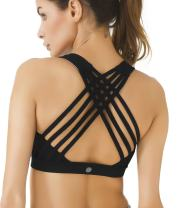QUEENIEKE Women's Medium Support Strappy Back Energy Sport Bra Cotton Feel 6017