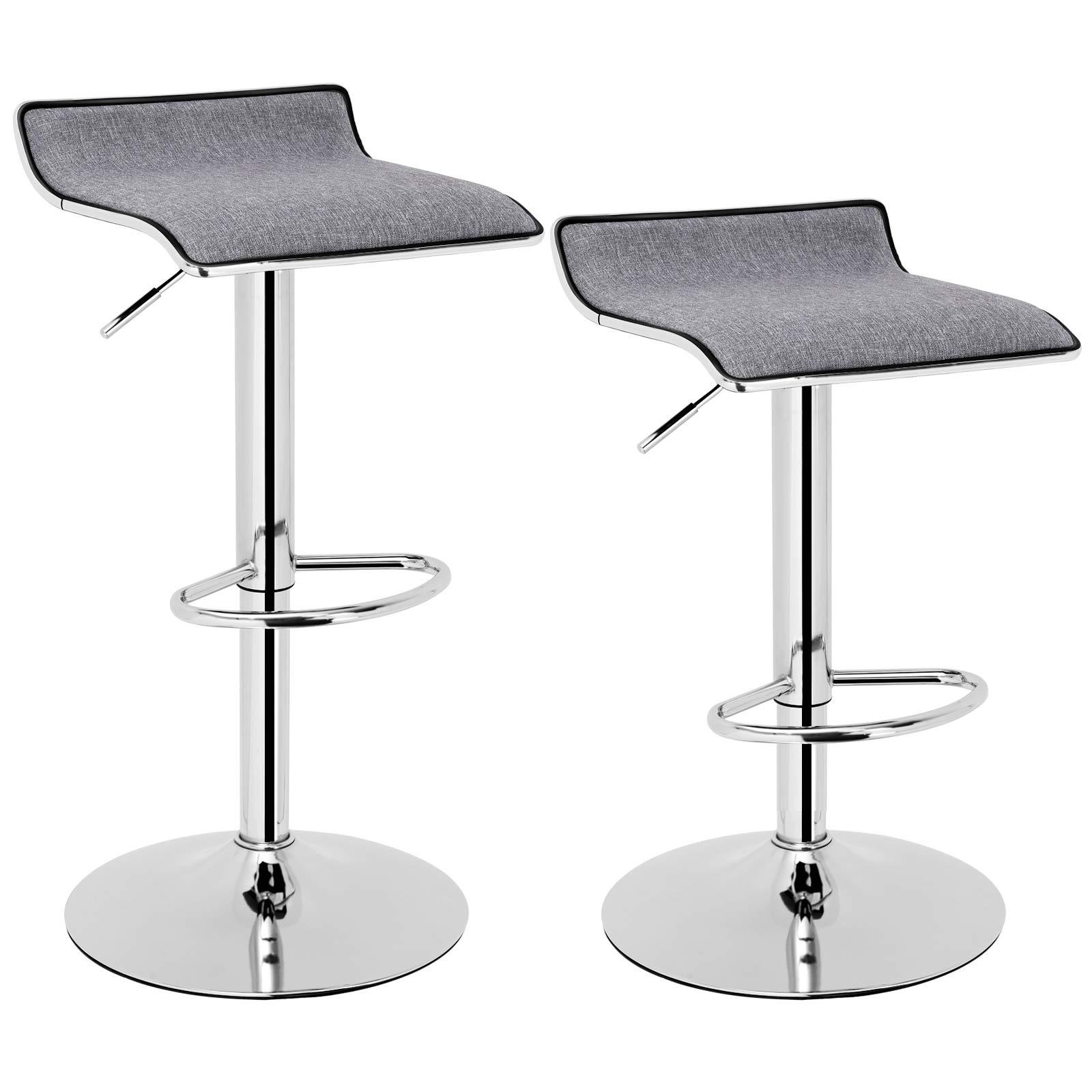 SONGMICS Set of 2 Adjustable Bar Swivel Kitchen Breakfast Counter Stools, with Linen Fabric Seat, Gray