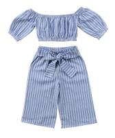 MAINESAKA Toddler Girl Stripe Off-Shoulder Tube Top + Pant Set Outfit