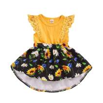 Newborn Infant Baby Girls Floral Ruffle Dress Lace Sleeve Skirts Summer Baby Dresses