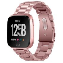 VIGOSS Compatible with Fitbit Versa Band/Versa 2 Bands Rose Gold Women Solid Stainless Steel Versa Special Edition Bands Metal Strap Replacement for Fitbit Versa/Lite/Versa 2/Special Edition