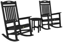 Trex Outdoor Furniture by Polywood 3-Piece Yacht Club Rocker Set, Charcoal Black
