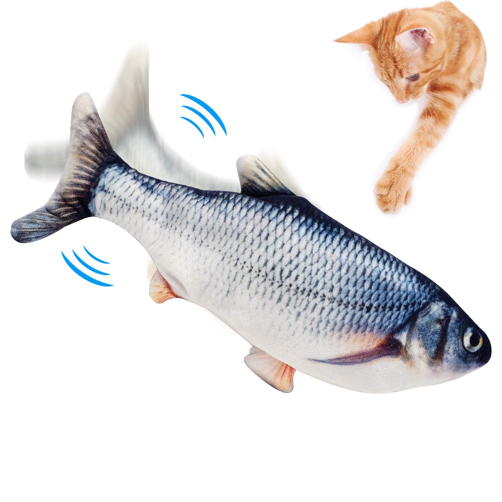 Floppy Fish Cat Toy, Realistic Flopping Fish Cat Toy, Interactive Cat Toys for Indoor Cats, Moving Fish Cat Toy, Kitten Toys, Catnip Toy, Cat Chew Toy, Automatic Cat Kicker Toy for Kitty Exercise