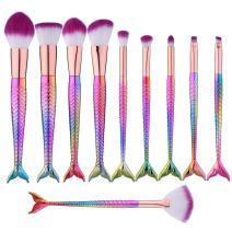 10pcs Mermaid Makeup Brush Set Colorful Cosmetics Kabuki Foundation Blending Blush Concealer Eyeshadow Face Powder Brush Premium Makeup Brushes Kit Synthetic Bristles