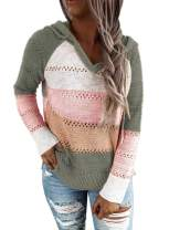Byoauo Womens Color Block Striped Oversized Hooded Sweaters Long Sleeve Loose Chunky Knitted Pullover Jumper Tops