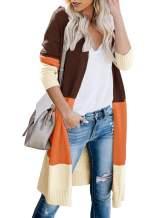 Tutorutor Womens Boho Lightweight Color Block Long Cardigan Sweaters Oversized Open Front Striped Loose Knit Kimono Coat