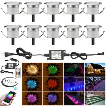 """LED Deck Lights Kit, 10pcs Φ1.22"""" WiFi Wireless Smart Phone Control Low Voltage Recessed RGBW Deck Lamp In-ground Lighting Waterproof Outdoor Yard Path Stair Landscape Decor, Fit for Alexa,Google Home"""