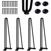 """CONNOO 20 Inches Hairpin Furniture Legs, 1/2"""" 3 Solid Rods Coffee Table Legs for Industrial Home DIY Projects for Modern Desks, Bench and Ding Board, Rubber Floor Protectors Included- 4 PCS"""
