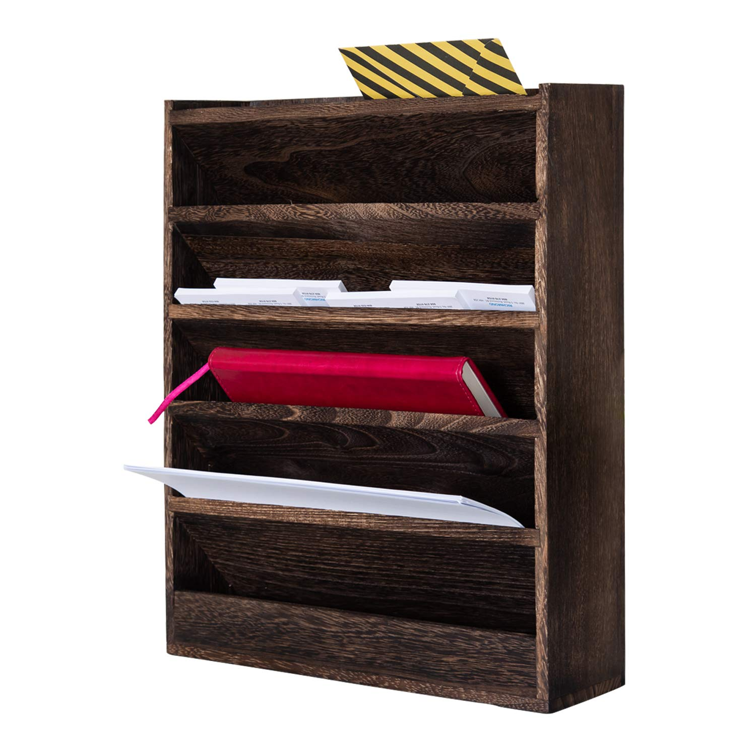 Comfify Rustic Wood Document Filing Organizer for Home or Office – Wall Mounted Magazine Holder with 5 Slots – Mail Organizer for Wall – Real Torched Wood Mail Rack Tray – Torched Brown