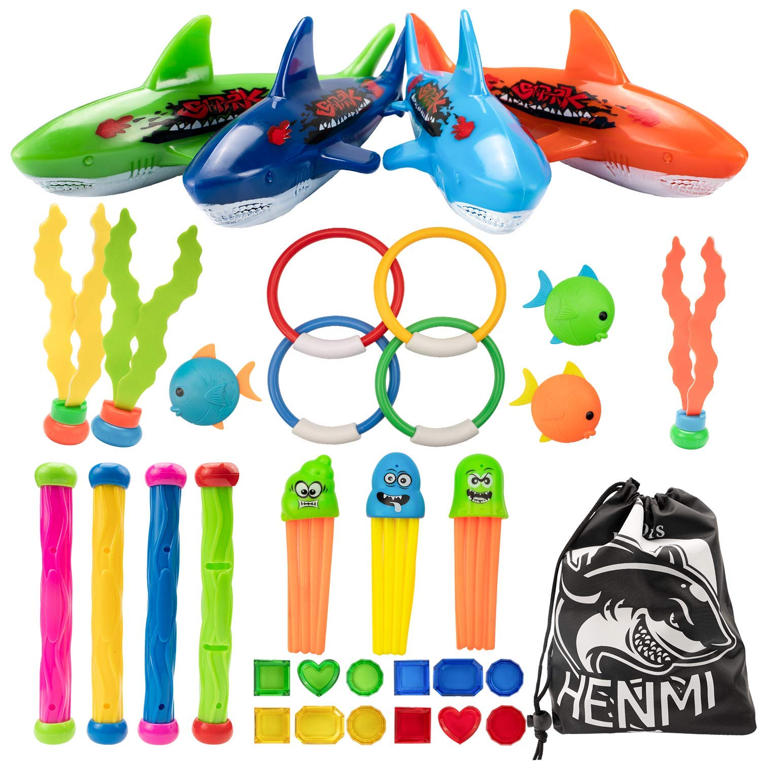 HENMI 34 PCS Swimming Pool Diving Toys with Storage Bag Underwater Summer Dive Toys with Diving Rings Diving Sticks Stringy Octopus Torpedo Bandits Diving Fish Under Water Treasures Gift for Kids