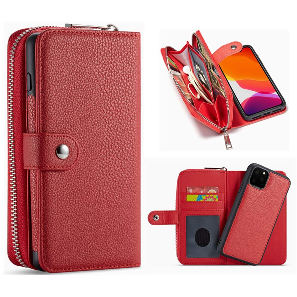 iPhone 11 Pro Max Wallet Case,Hynice Women PU Leather Magnetic Detachable Case with Zipper Pocket Removable Shockproof Slim Back Cover for iPhone 11 Pro Max 6.5 inch(Lichi-Red, iPhone 11 Pro Max)