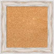 Framed Natural Cork Board Bulletin Board | Natural Cork Boards Alexandria White Wash Narrow Frame | Framed Bulletin Boards | 15.12 x 15.12 in.