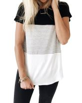 Glomeen Women's Summer Short Sleeve Color Block Stripe Casual Tops T-Shirts Blouses