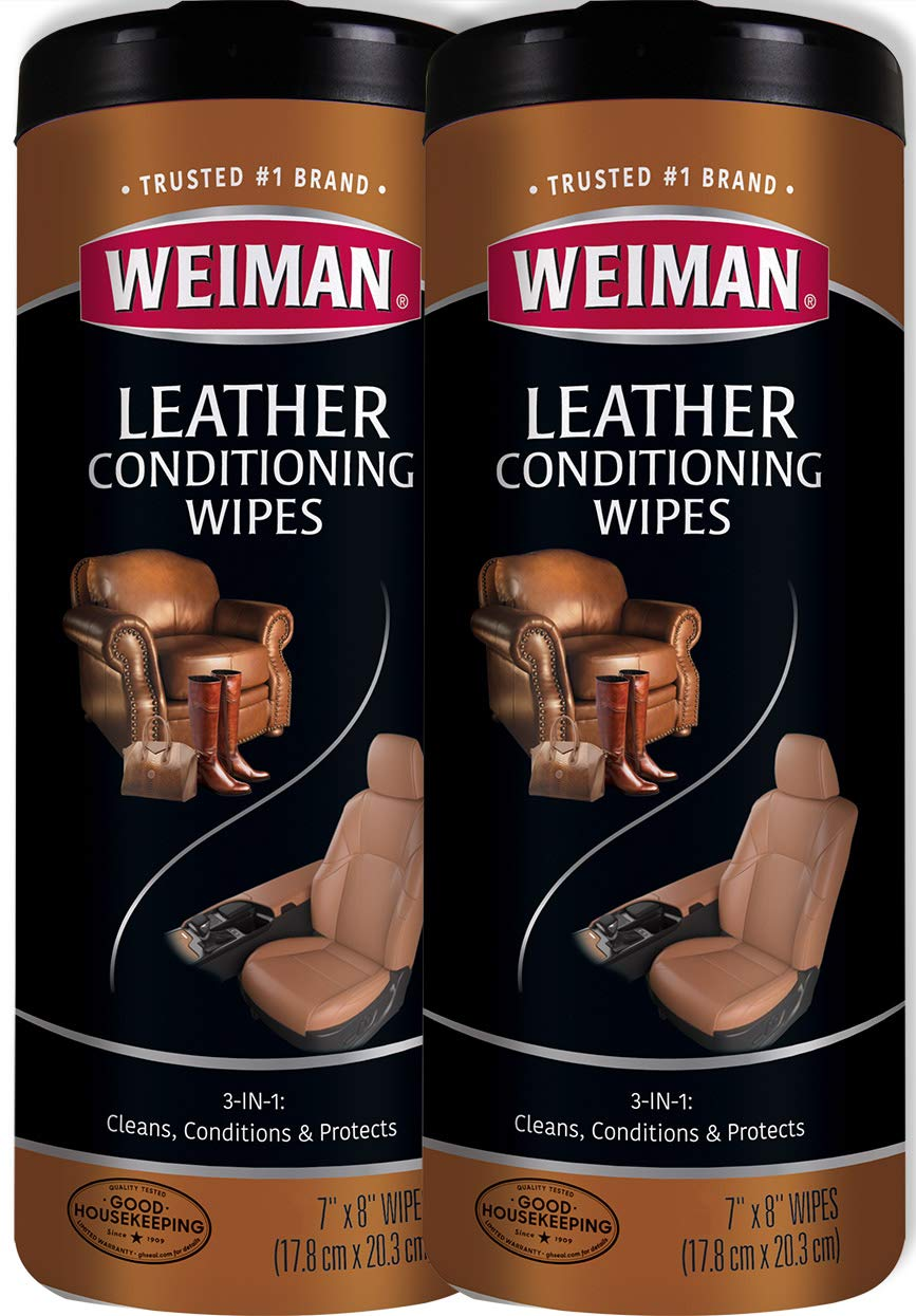 Weiman Leather Wipes - 2 Pack - Clean Condition UV Protection Help Prevent Cracking or Fading of Leather Furniture, Car Seats & Interior, Shoes and More