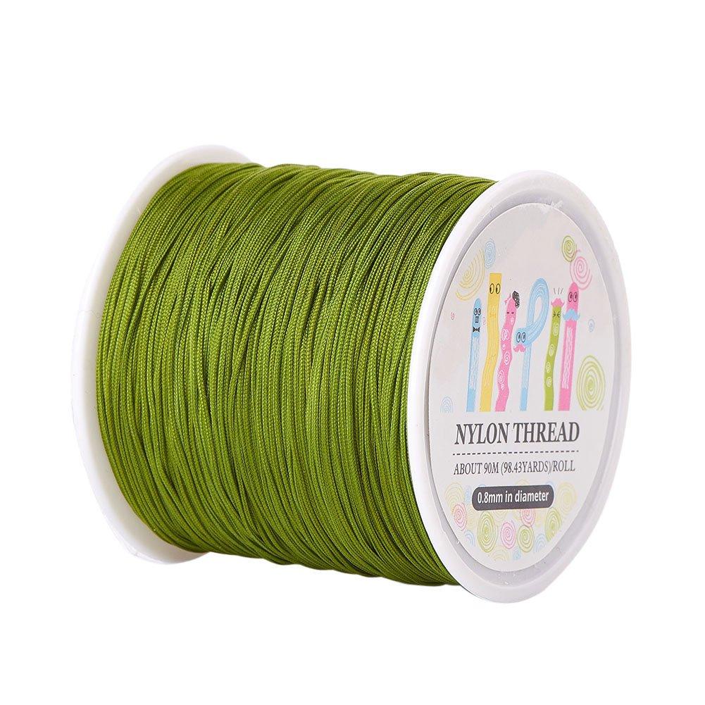 Pandahall 1 Roll(About 90m, 100 Yards) 0.8mm Nylon Beading String Knotting Cord, Chinese Knotting Cord Nylon Kumihimo Macrame Thread Beading Cord (Olive)