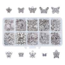 PH PandaHall 200pcs 10 Style Butterfly Spacer Beads with Antique Silver Tibetan Alloy Metal Spacers Charms Pendant for Bracelet Necklace Jewelry Making
