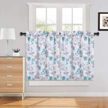 "Haperlare Cafe Curtains 36 Inch, Leaf Flower Printed Rod Pocket Short Window Curtains, Floral PrintKitchen Window Curtain Sets for Bathroom, 27"" x 36"", Teal/Grey, Set of 2"