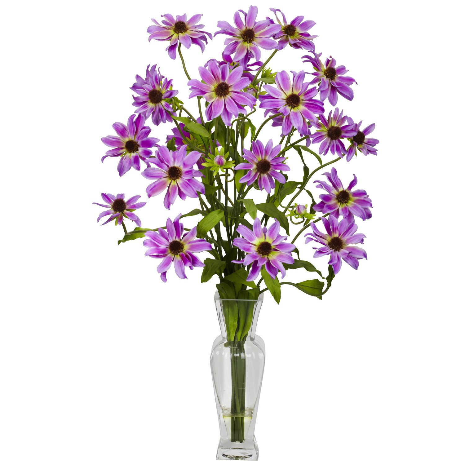Nearly Natural 1172-PP Cosmos with Vase Silk Flower Arrangement, Purple