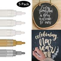 5 Pack Paint Pens by Vetoo, 0.7mm Acrylic Permanent Marker for Wood Rock Plastic Leather Glass Stone Metal Canvas Ceramic Marker Extra Very Fine Point Opaque Ink 3 White+1 Gold+ 1 Silver