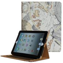 for iPad 9.7 6th/5th Generation 2018/2017, iPad Air/Air 2 Case, JYtrend Multi-Angle Viewing Stand Folio Smart Cover with Pocket for A1893 A1954 A1822 A1823 A1474 A1475 A1476 A1566 A1567(Map)